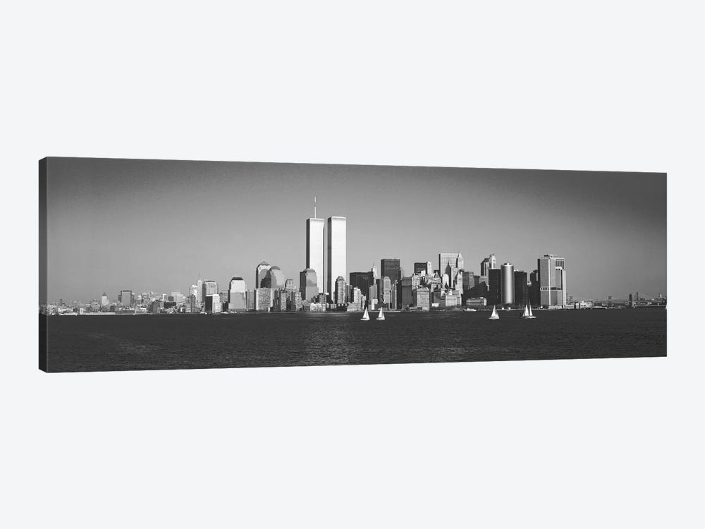New York Panoramic Skyline Cityscape (Black & White) 1-piece Canvas Art Print
