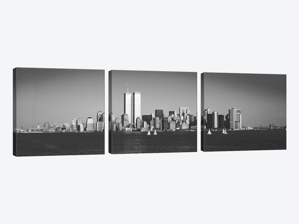 New York Panoramic Skyline Cityscape (Black & White) 3-piece Canvas Art Print