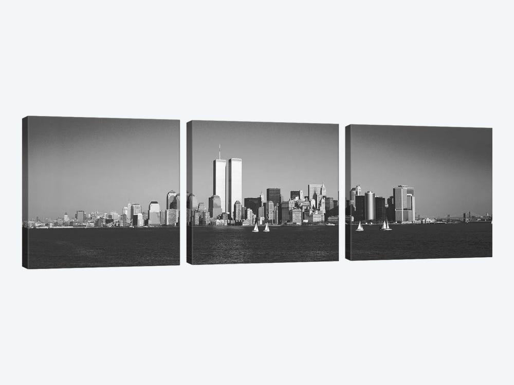 New York Panoramic Skyline Cityscape (Black & White) by Unknown Artist 3-piece Canvas Art Print
