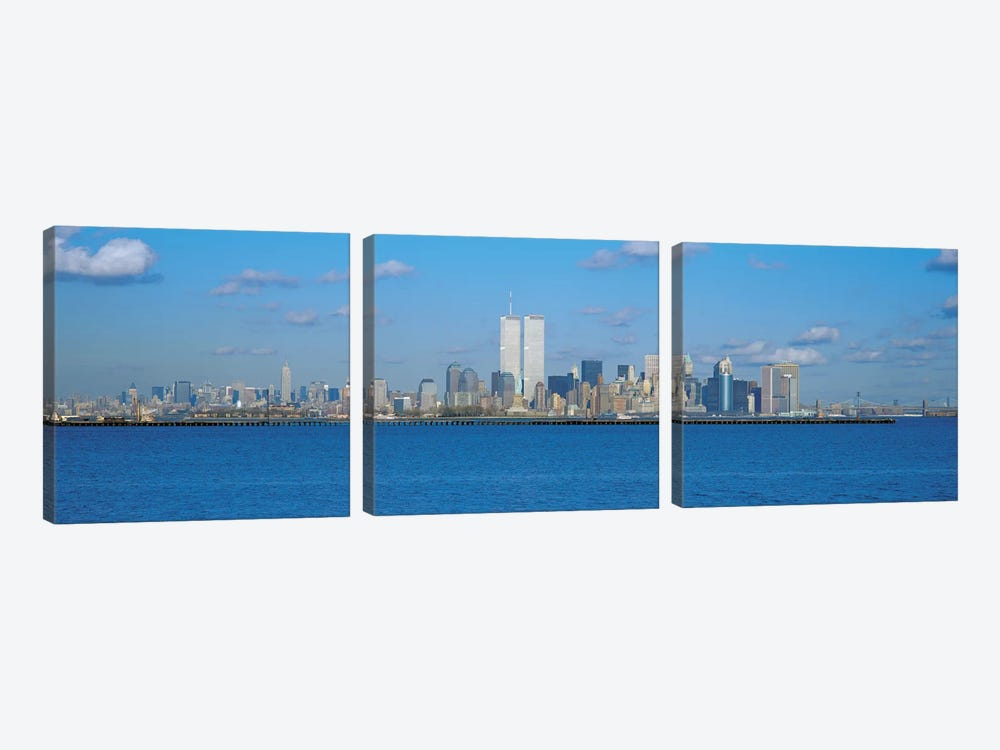 New York Panoramic Skyline Cityscape by Unknown Artist 3-piece Canvas Artwork