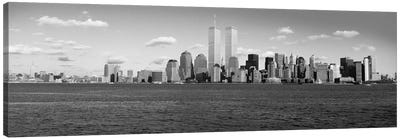 New York Panoramic Skyline Cityscape (Black & White) Canvas Print #6115