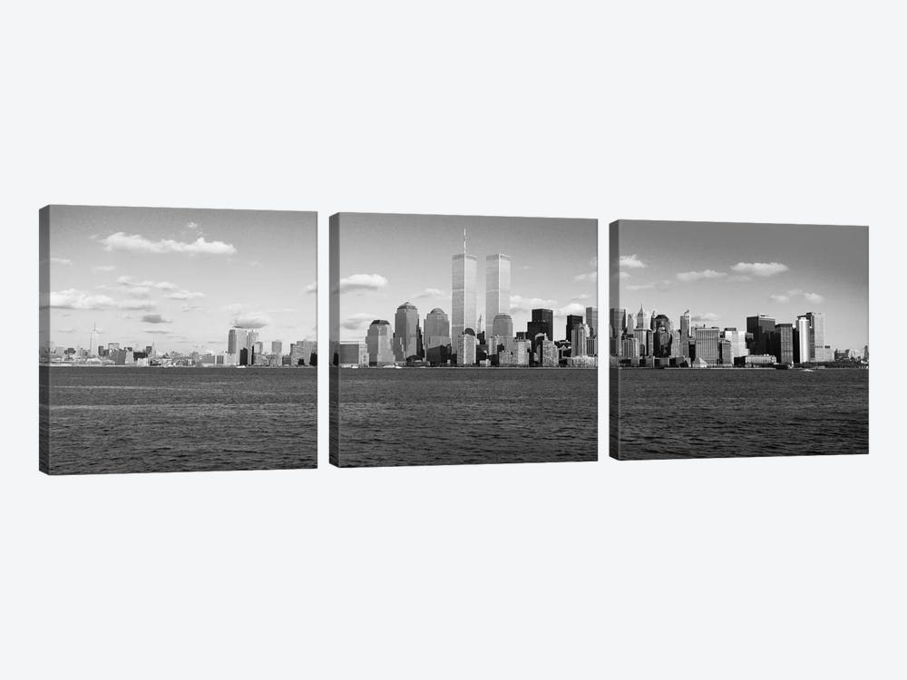 New York Panoramic Skyline Cityscape (Black & White) by Unknown Artist 3-piece Art Print