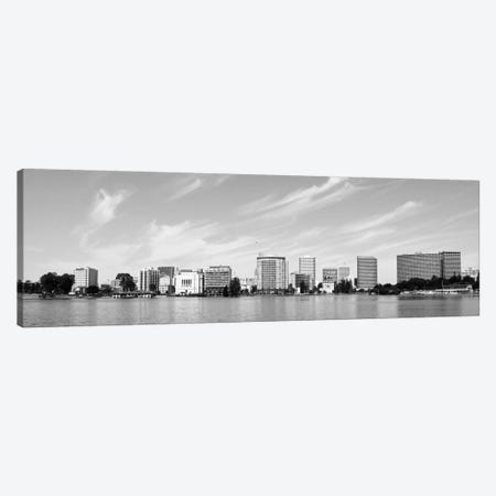 Oakland Panoramic Skyline Cityscape (Black & White) Canvas Print #6117} by Unknown Artist Canvas Artwork
