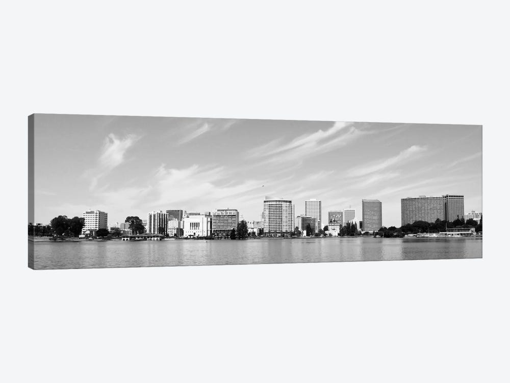 Oakland Panoramic Skyline Cityscape (Black & White) 1-piece Art Print