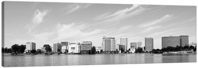 Oakland Panoramic Skyline Cityscape (Black & White) Canvas Art Print