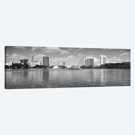 Orlando Panoramic Skyline Cityscape (Black & White) Canvas Print #6121} Canvas Art