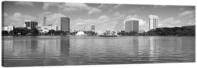 Orlando Panoramic Skyline Cityscape (Black & White) Canvas Art Print