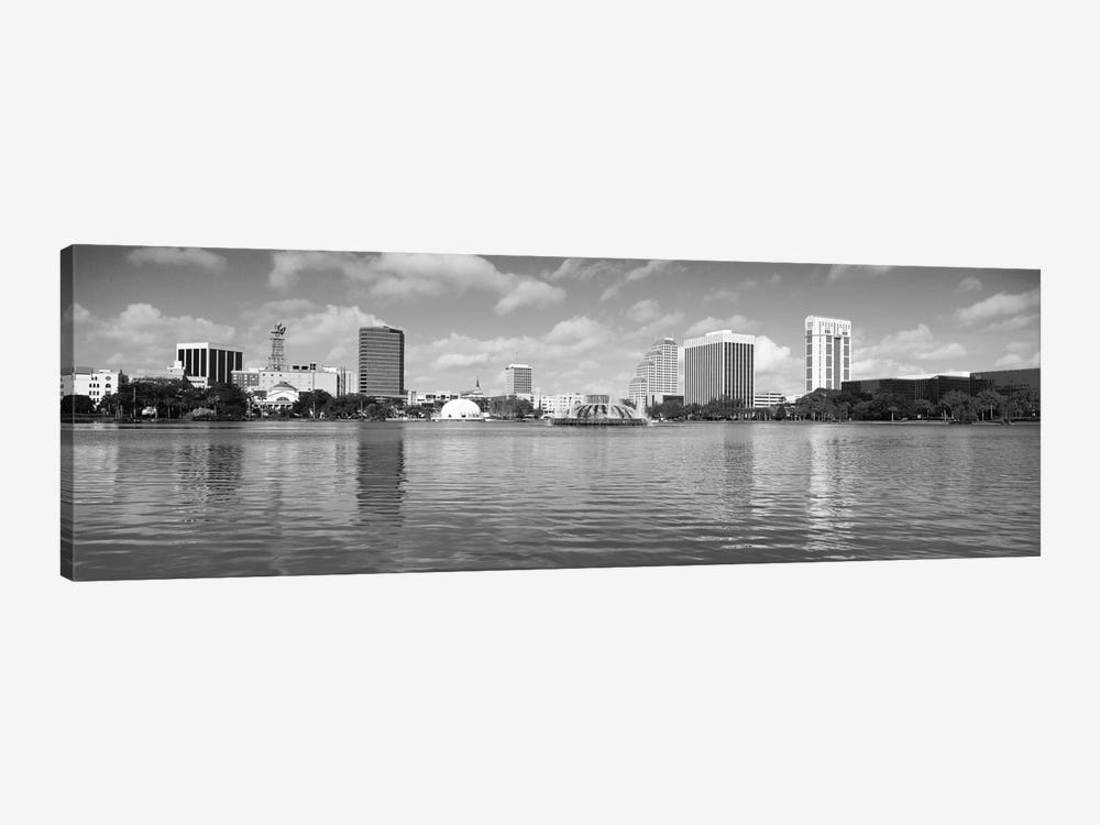 Orlando Panoramic Skyline Cityscape (Black & White) by Unknown Artist 1-piece Canvas Art