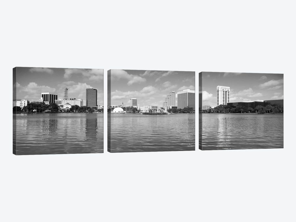 Orlando Panoramic Skyline Cityscape (Black & White) by Unknown Artist 3-piece Canvas Artwork