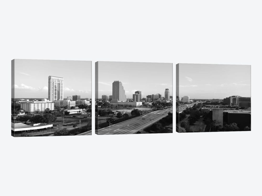 Orlando Panoramic Skyline Cityscape (Black & White) by Unknown Artist 3-piece Canvas Art Print