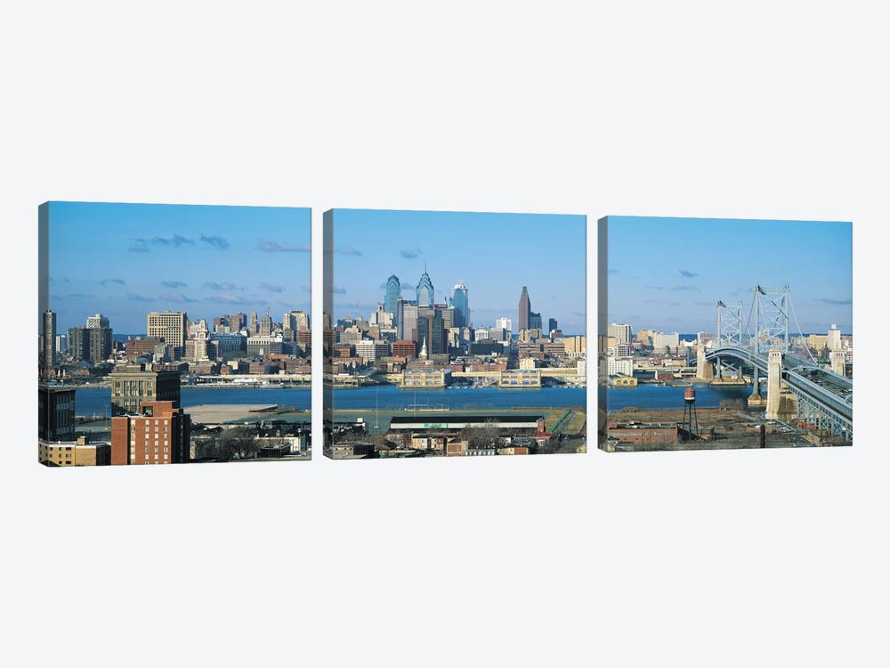 Philadelphia Panoramic Skyline Cityscape by Unknown Artist 3-piece Canvas Wall Art