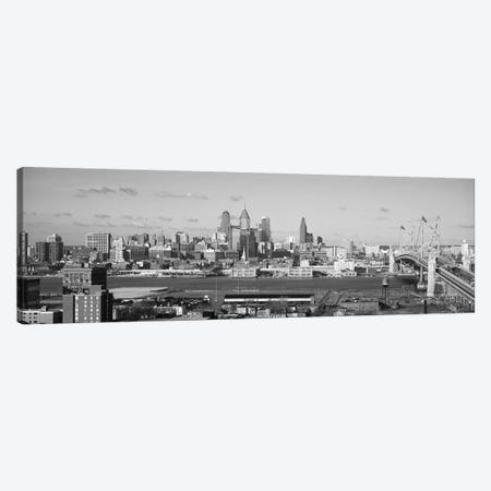 Philadelphia Panoramic Skyline Cityscape (Black & White) Canvas Print #6124} Art Print