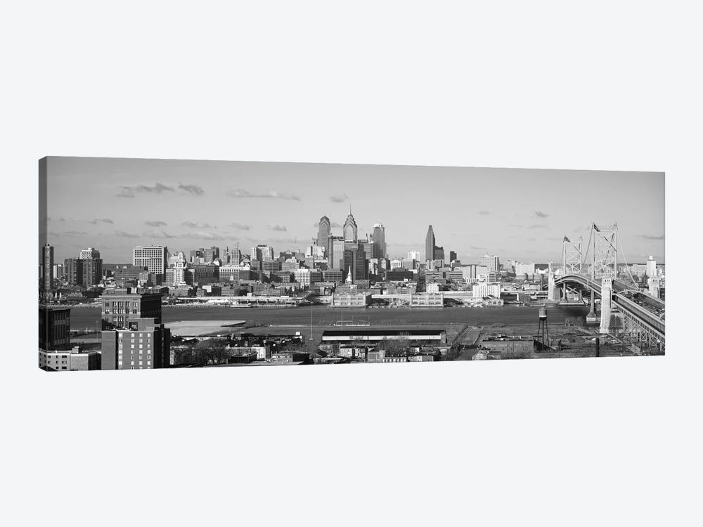 Philadelphia Panoramic Skyline Cityscape (Black & White) by Unknown Artist 1-piece Art Print