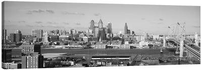 Philadelphia Panoramic Skyline Cityscape (Black & White) Canvas Art Print