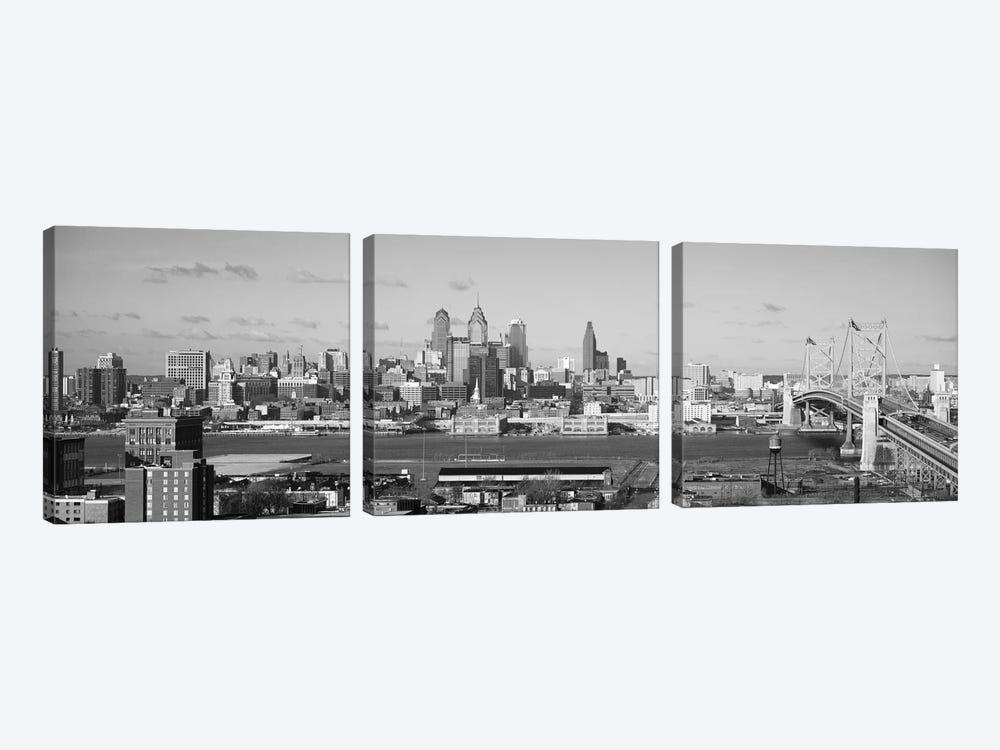 Philadelphia Panoramic Skyline Cityscape (Black & White) by Unknown Artist 3-piece Art Print