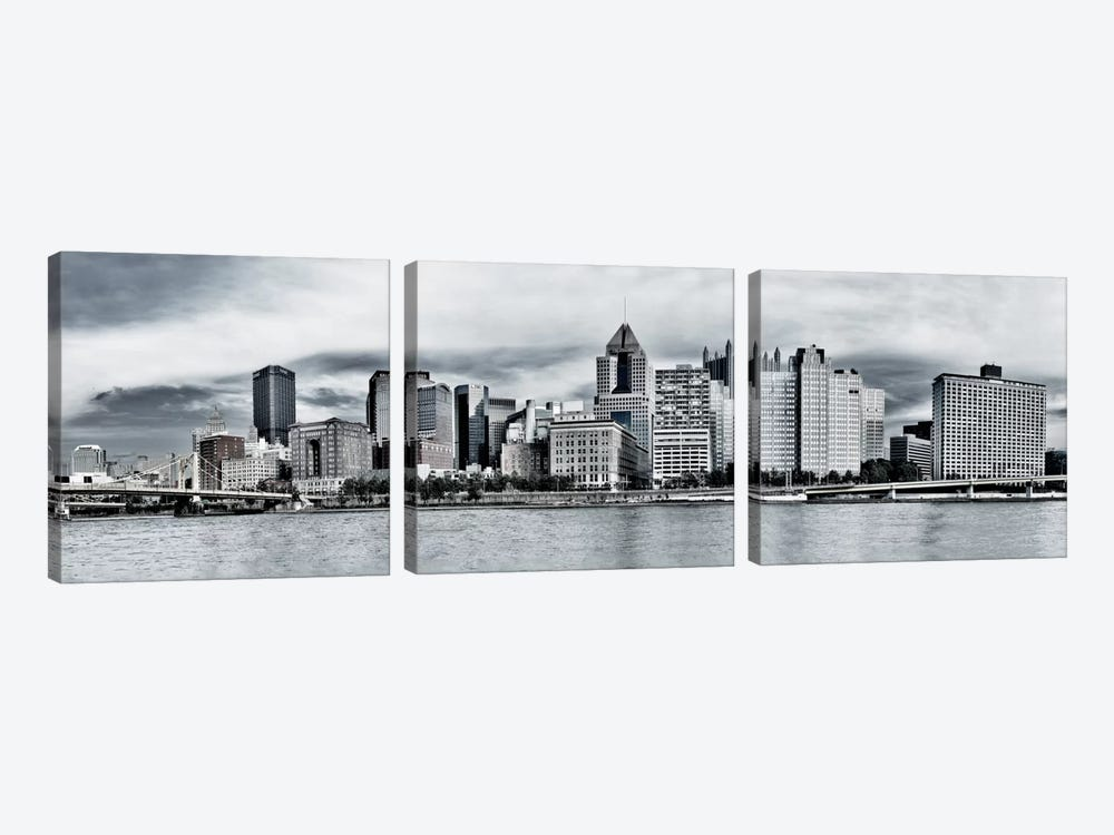 Pittsburgh Panoramic Skyline Cityscape by Unknown Artist 3-piece Canvas Art