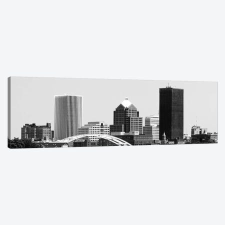 Rochester Panoramic Skyline Cityscape (Black & White) Canvas Print #6127} Art Print
