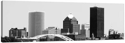 Rochester Panoramic Skyline Cityscape (Black & White) Canvas Print #6127