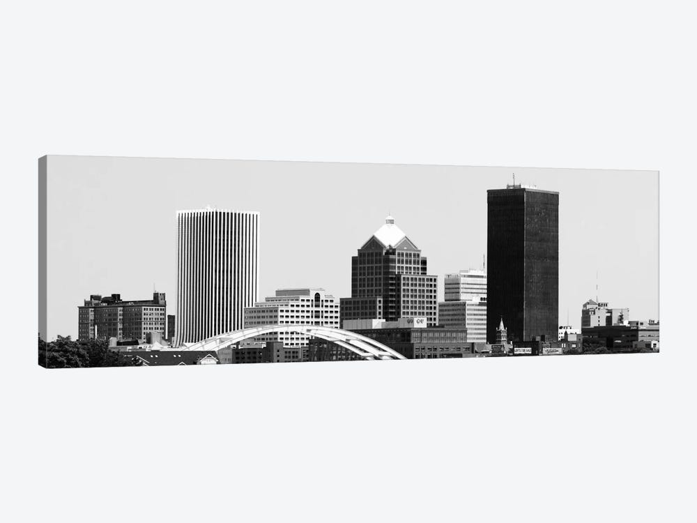 Rochester Panoramic Skyline Cityscape (Black & White) 1-piece Canvas Art