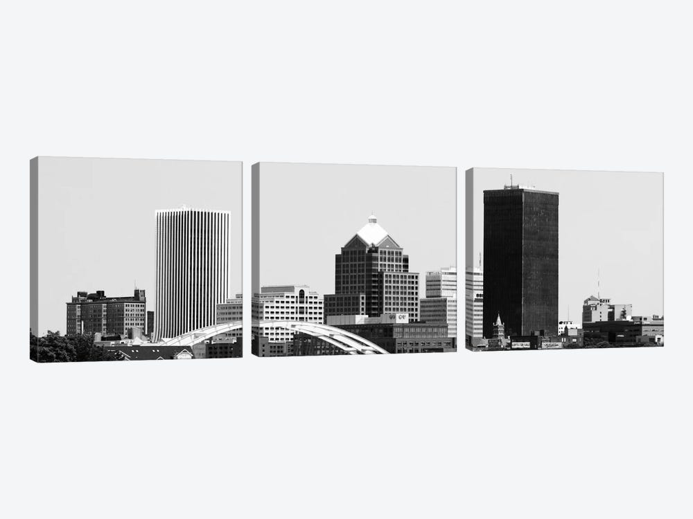 Rochester Panoramic Skyline Cityscape (Black & White) 3-piece Canvas Artwork