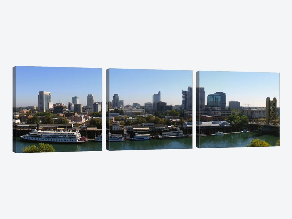 Sacramento Panoramic Skyline Cityscape by Unknown Artist 3-piece Canvas Print