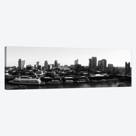 Sacramento Panoramic Skyline Cityscape (Black & White) Canvas Print #6129} Canvas Wall Art