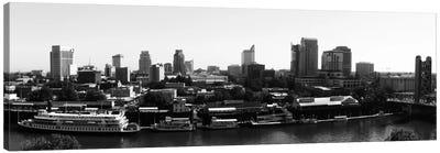 Sacramento Panoramic Skyline Cityscape (Black & White) Canvas Print #6129
