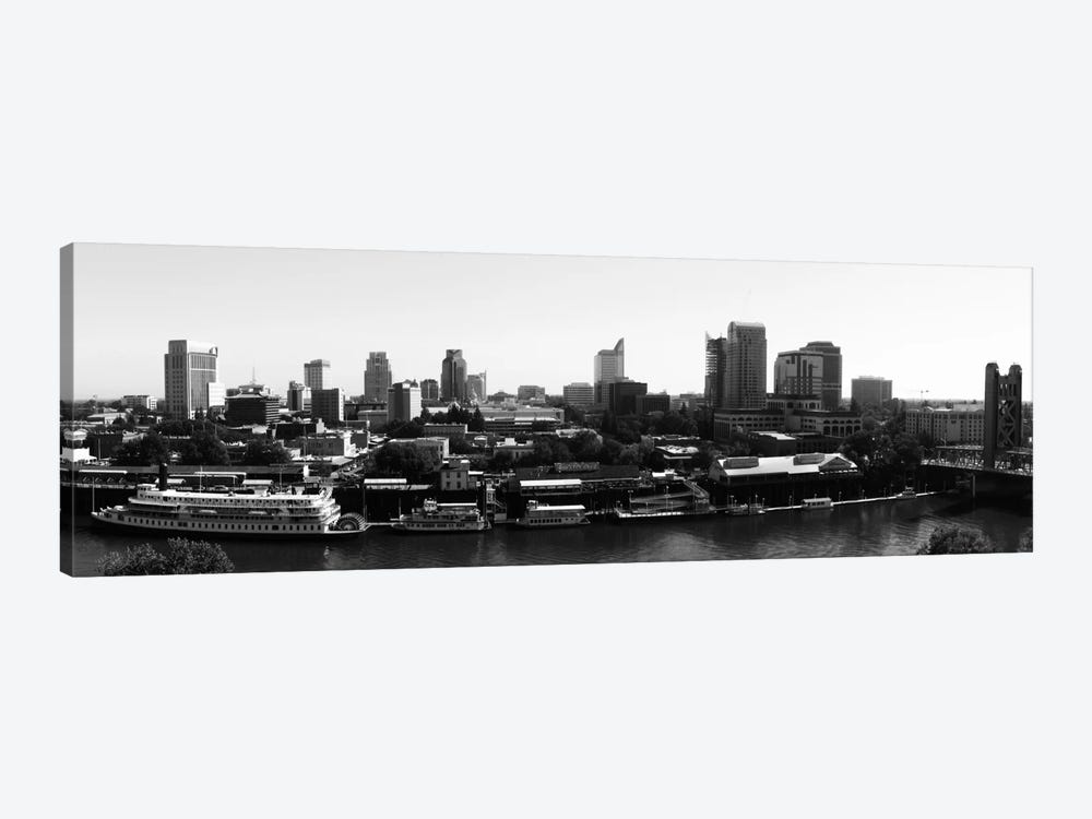 Sacramento Panoramic Skyline Cityscape (Black & White) 1-piece Canvas Artwork