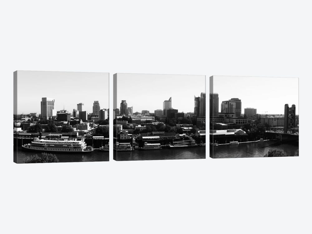 Sacramento Panoramic Skyline Cityscape (Black & White) 3-piece Canvas Artwork