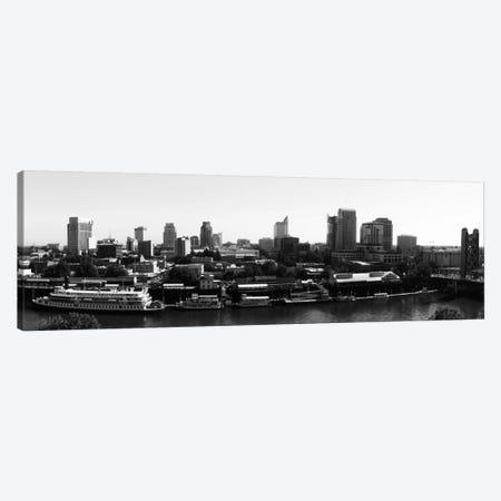 Sacramento Panoramic Skyline Cityscape (Black & White) Canvas Print #6129} by Unknown Artist Canvas Wall Art