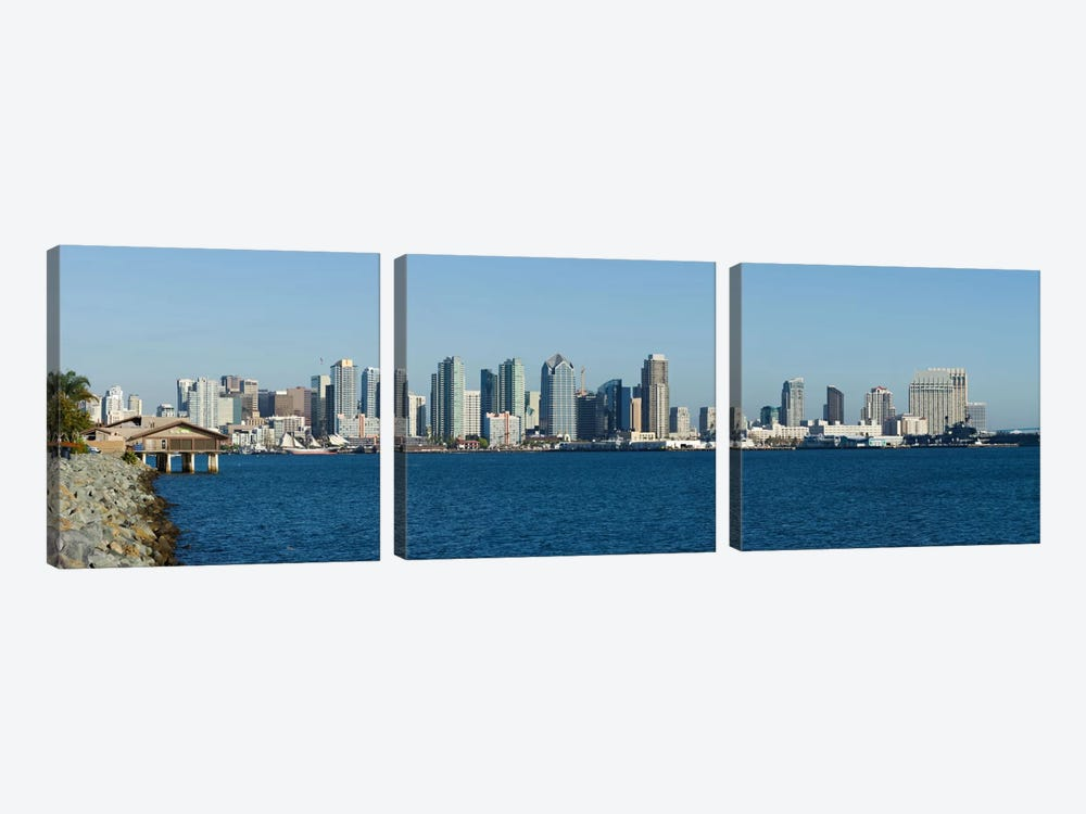 San Diego Panoramic Skyline Cityscape by Unknown Artist 3-piece Canvas Art