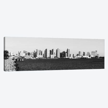 San Diego Panoramic Skyline Cityscape (Black & White) Canvas Print #6131} Art Print