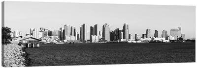 San Diego Panoramic Skyline Cityscape (Black & White) Canvas Print #6131