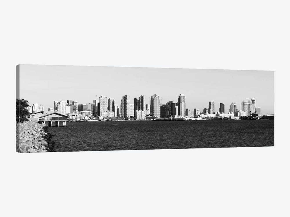 San Diego Panoramic Skyline Cityscape (Black & White) 1-piece Canvas Print