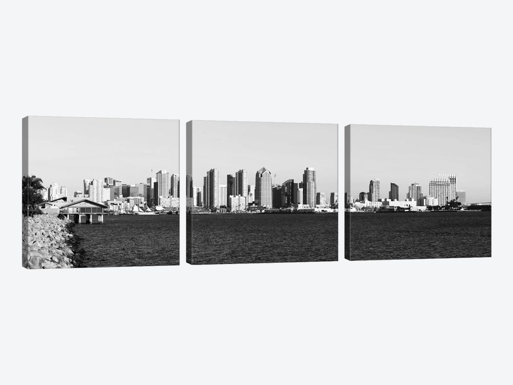 San Diego Panoramic Skyline Cityscape (Black & White) 3-piece Art Print