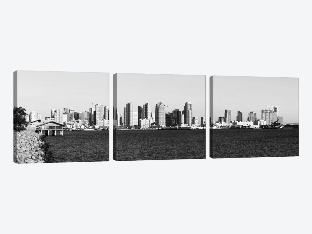 San Diego Panoramic Skyline Cityscape (Black & White) by Unknown Artist 3-piece Art Print