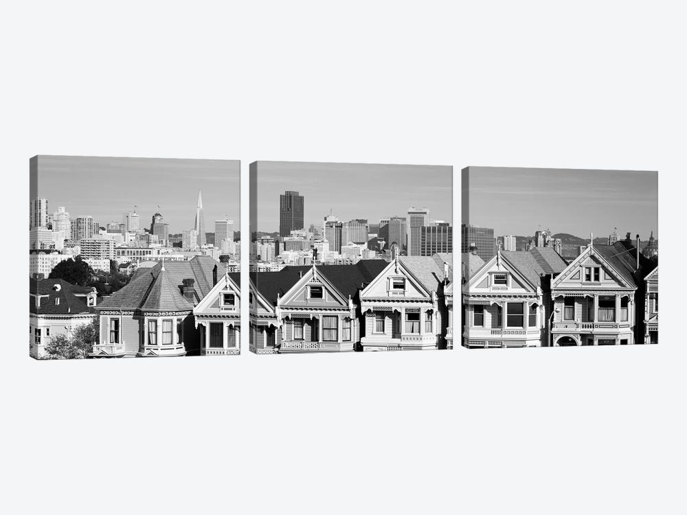 San Francisco Panoramic Skyline Cityscape (Black & White) by Unknown Artist 3-piece Canvas Art
