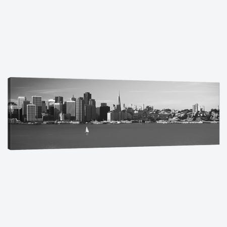 San Francisco Panoramic Skyline Cityscape (Black & White) Canvas Print #6136} by Unknown Artist Canvas Art