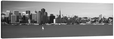 San Francisco Panoramic Skyline Cityscape (Black & White) Canvas Print #6136