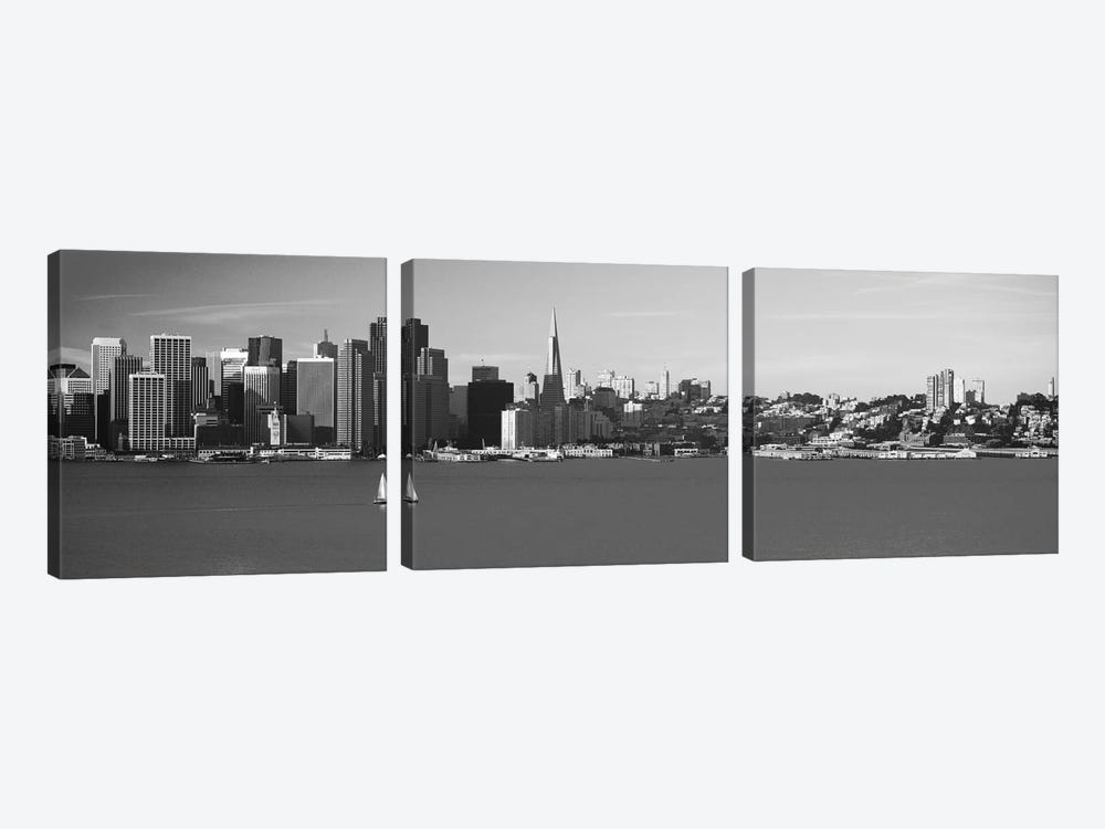 San Francisco Panoramic Skyline Cityscape (Black & White) 3-piece Canvas Wall Art
