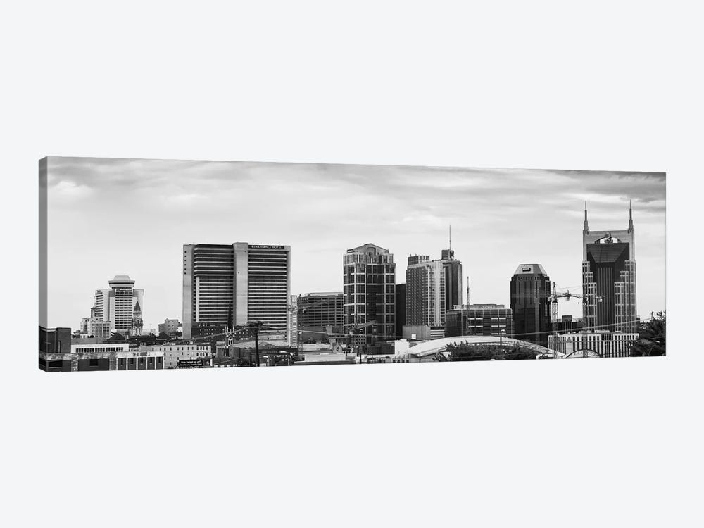 Memphis Panoramic Skyline Cityscape (Black & White) 1-piece Canvas Art Print