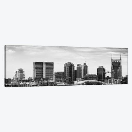 Memphis Panoramic Skyline Cityscape (Black & White) Canvas Print #6140} by Unknown Artist Canvas Artwork