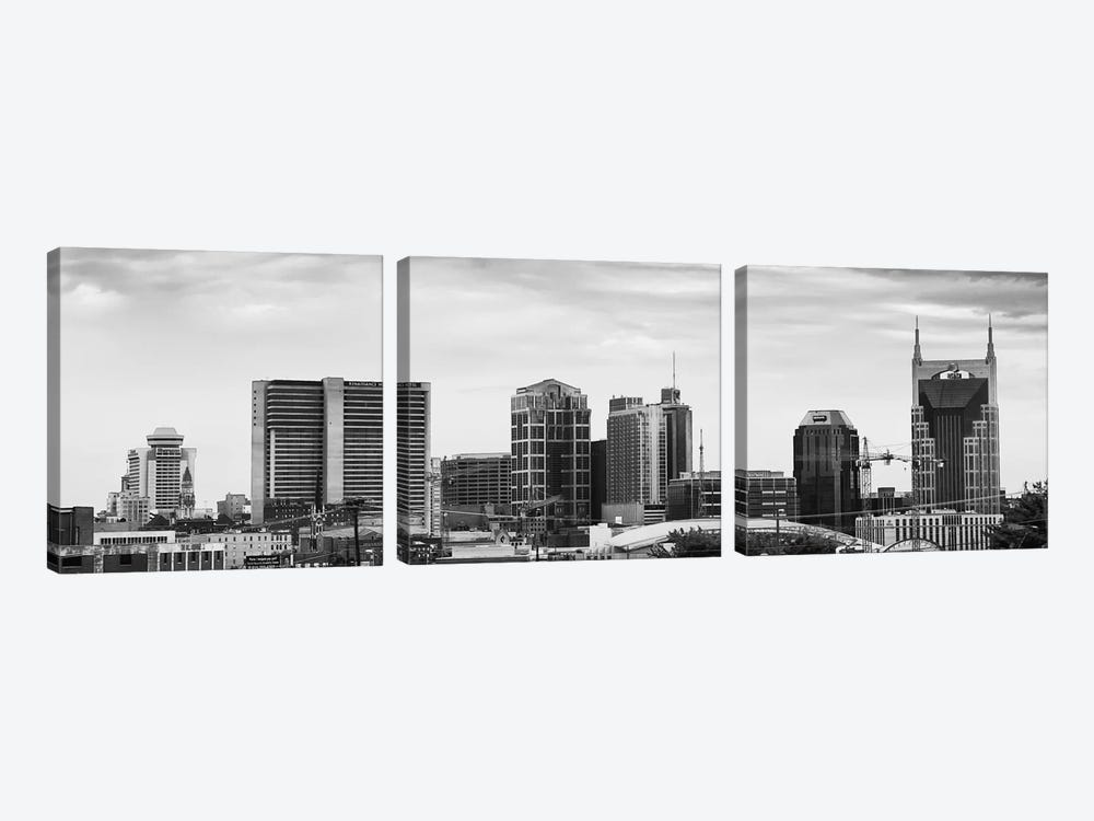 Memphis Panoramic Skyline Cityscape (Black & White) by Unknown Artist 3-piece Canvas Print