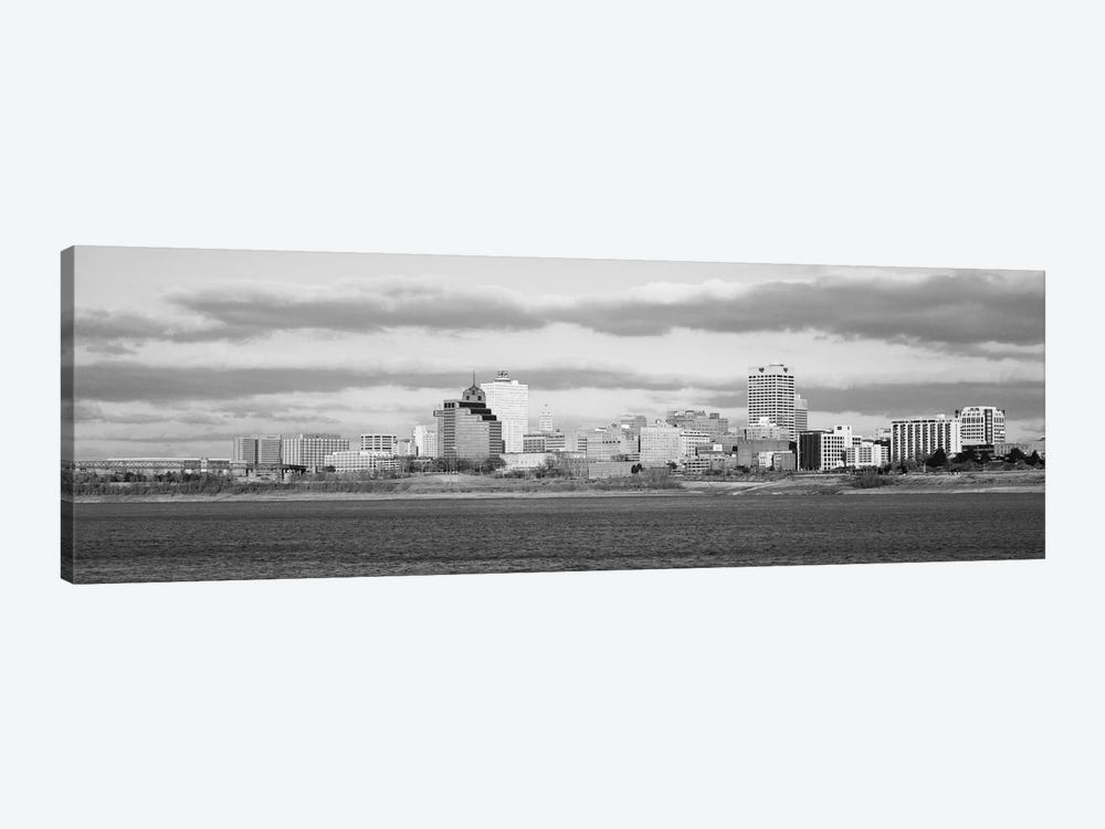 Memphis Panoramic Skyline Cityscape (Black & White) 1-piece Canvas Wall Art