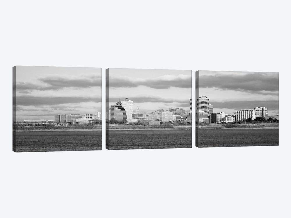 Memphis Panoramic Skyline Cityscape (Black & White) 3-piece Canvas Artwork