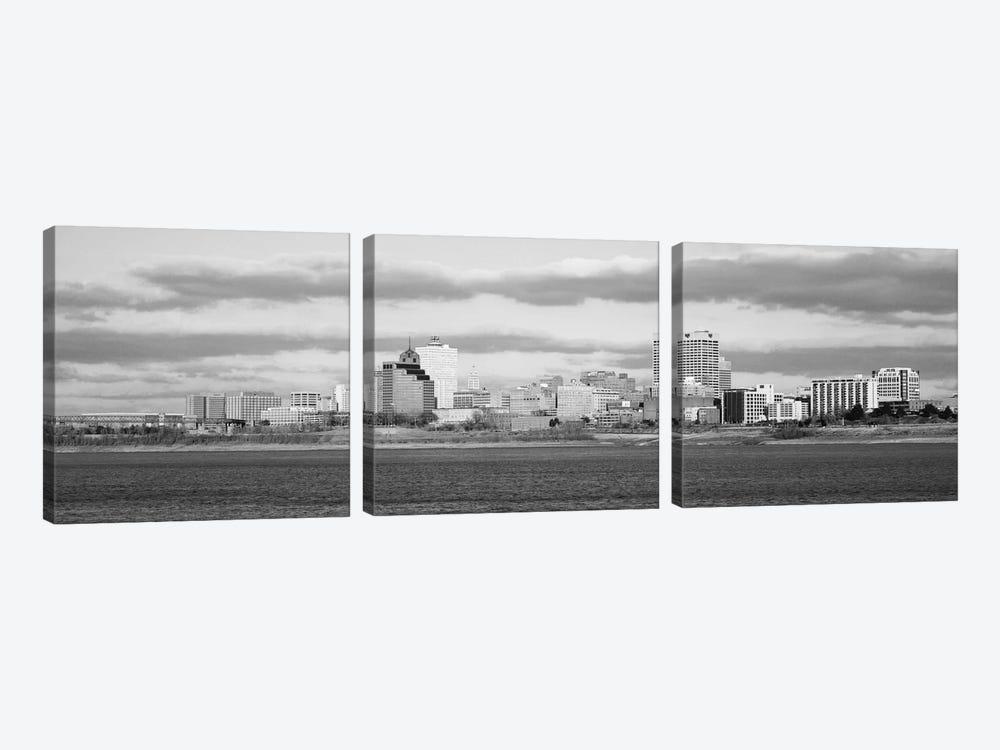 Memphis Panoramic Skyline Cityscape (Black & White) by Unknown Artist 3-piece Canvas Artwork