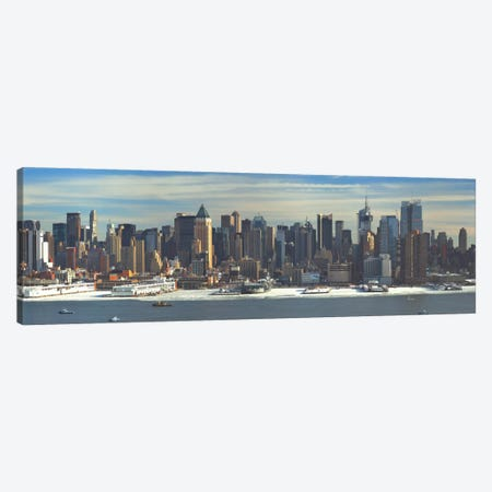 New York Panoramic Skyline Cityscape (Winter) Canvas Print #6142} by Unknown Artist Canvas Wall Art