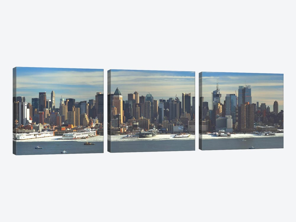 New York Panoramic Skyline Cityscape (Winter) by Unknown Artist 3-piece Canvas Art Print