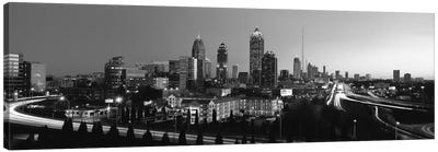 Atlanta Panoramic Skyline Cityscape (Black & White) Canvas Art Print