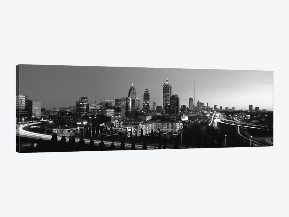 Atlanta Panoramic Skyline Cityscape (Black & White) 1-piece Canvas Art